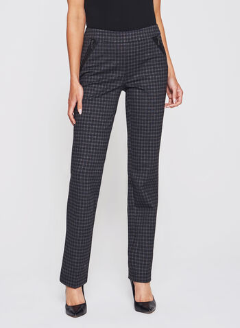Plaid Zipper Trim Straight Leg Pull-On Pants, , hi-res