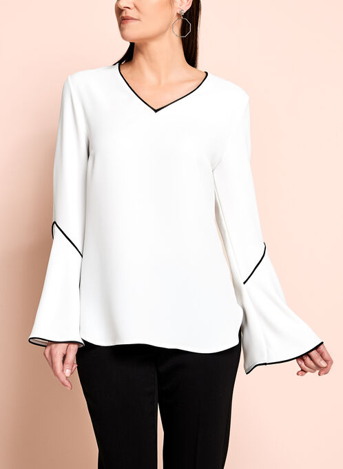 Frank Lyman Bell Sleeve Top, Off White, hi-res