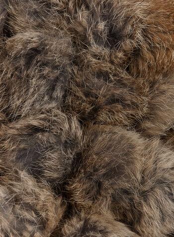 Rabbit Fur Pom Pom Scarf, Brown, hi-res
