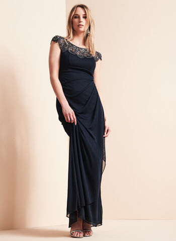 Cap Sleeve Beaded Trim Gown, , hi-res