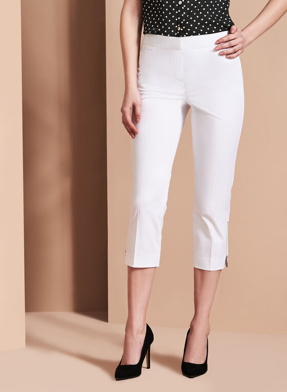 Sateen Zipper Trim Capris, White, hi-res