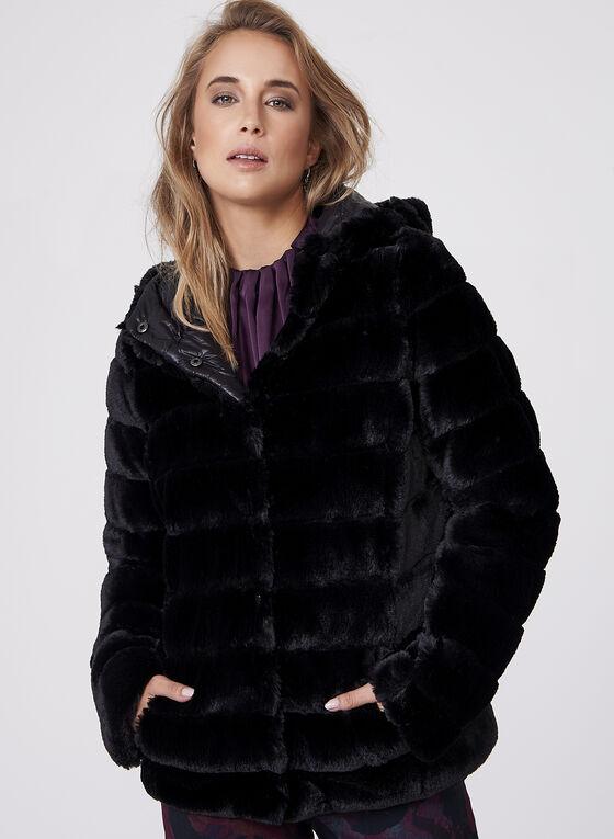 Frank Lyman - Reversible Faux Fur Coat, Black, hi-res