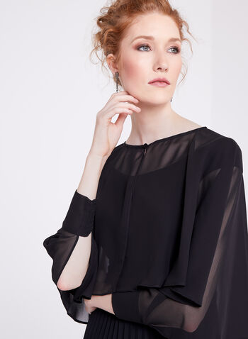 Long Sleeve Chiffon Bolero , , hi-res