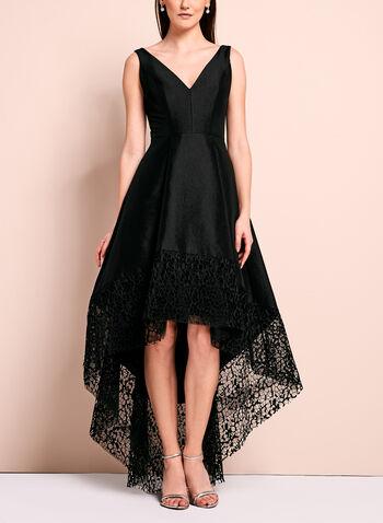 Lace Trim Evening Dress, , hi-res