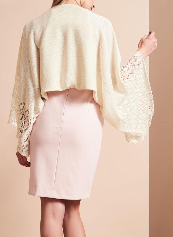 Glitter Knit Crochet Bolero, Off White, hi-res