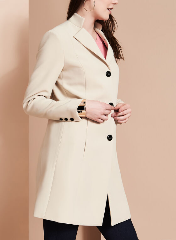 Nuage - Coachman Collar Bankers Coat, Brown, hi-res