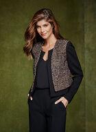 Cropped Tweed Blazer, Blue, hi-res