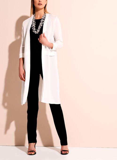 3/4 Sleeve Knit & Chiffon Duster, Off White, hi-res