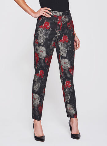 Floral Print Straight Leg Ankle Pants, , hi-res