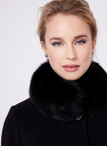 Mallia - Fur Trimmed Cashmere Blend Coat, , hi-res