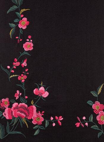 Embroidered Tassel Scarf, , hi-res