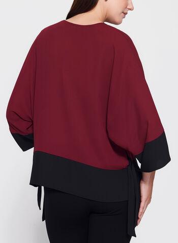 Contrast Kimono Tie Hem Blouse, , hi-res