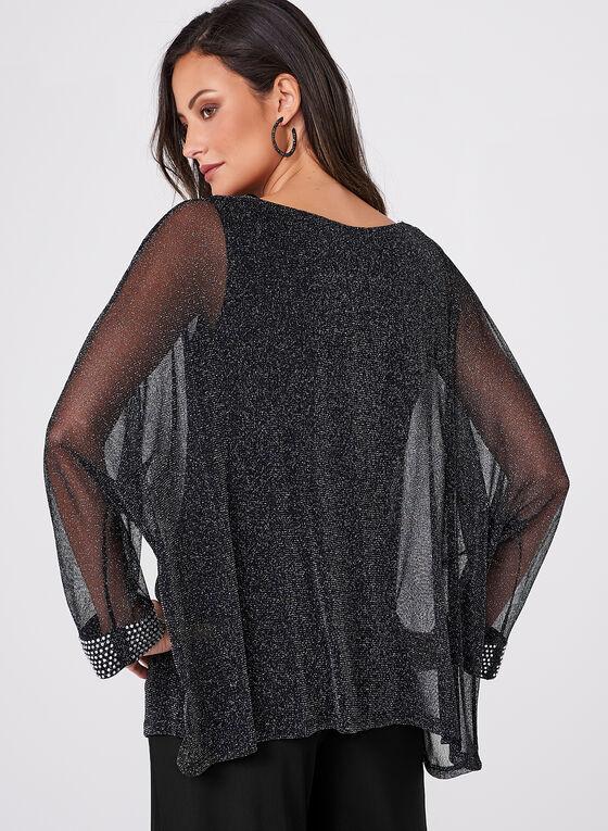 Frank Lyman - Crystal Embellished Glitter Blouse , Black, hi-res