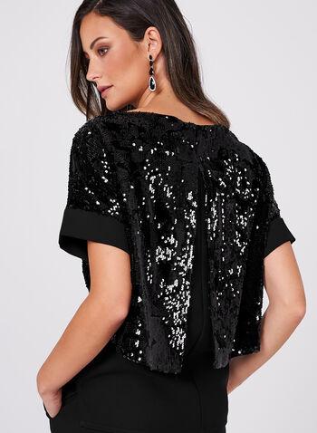 Sequin Velvet Kimono Top, , hi-res