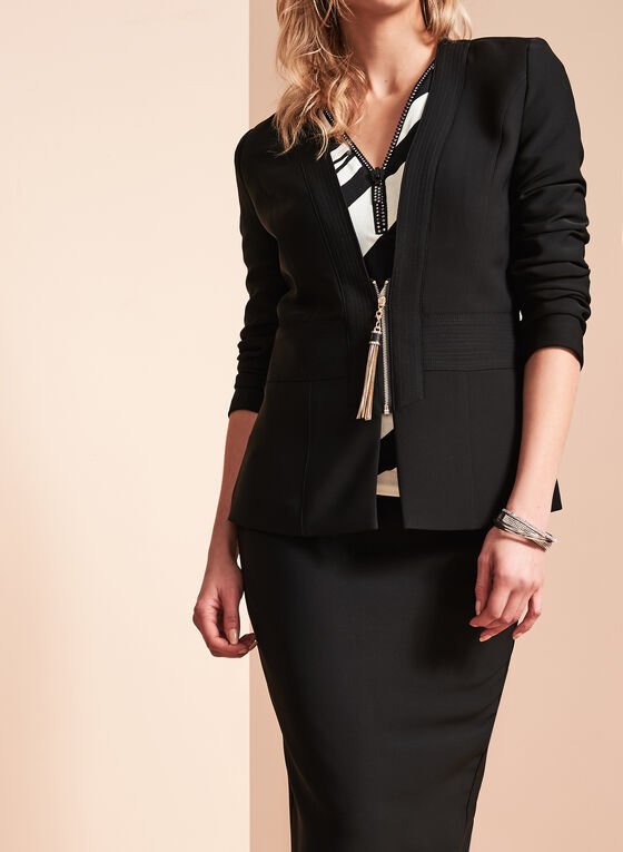 Tassel Trim Zip Front Jacket , Black, hi-res