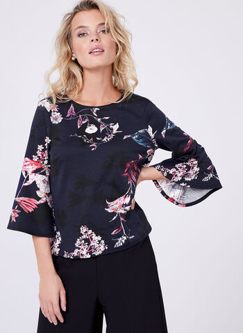 Floral Print Bell Sleeve Top, , hi-res