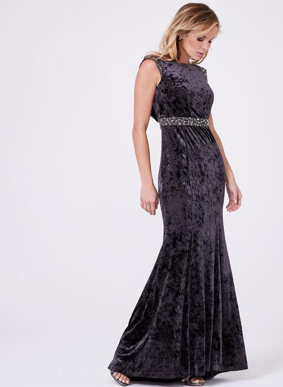 Decode 1.8 - Beaded Empire Velvet Gown, Grey, hi-res