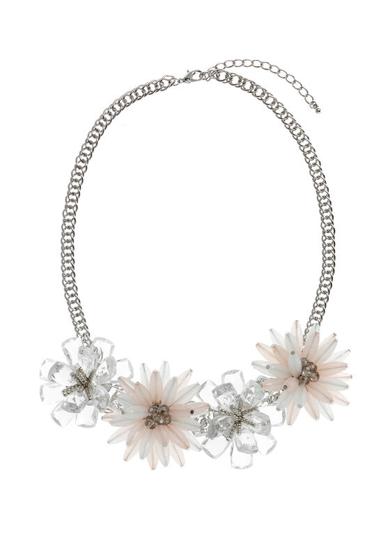 Beaded Floral Motif Necklace , Grey, hi-res