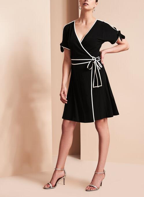 Ivanka Trump Cold Shoulder Wrap Dress, Black, hi-res