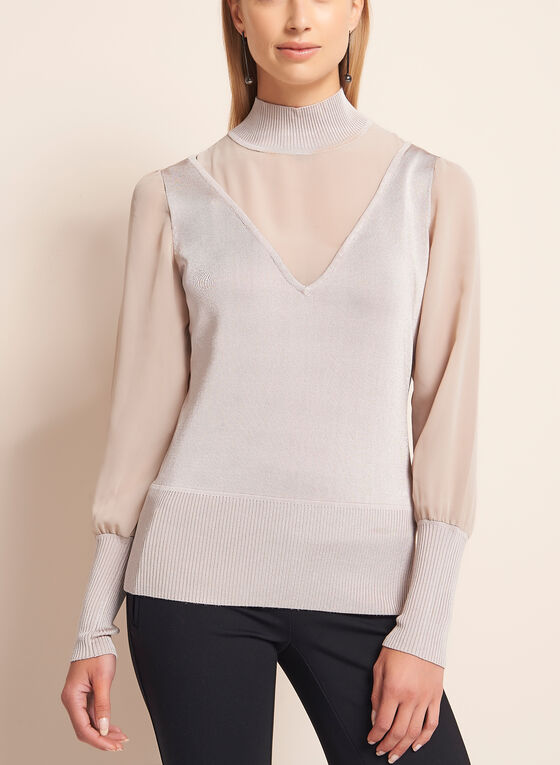 Sheer Chiffon V-Neck Knit Sweater , Off White, hi-res
