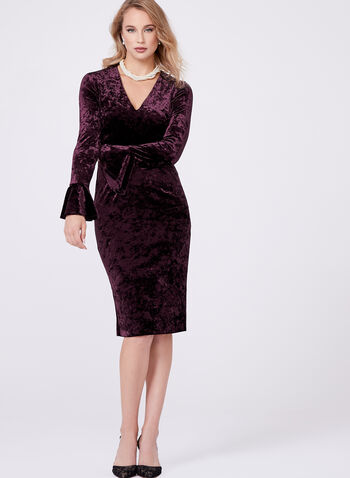 Maggy London - Velvet Ruffle Sleeve Dress, , hi-res