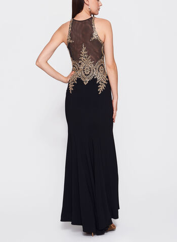 Embellished Appliqué Jersey Gown, , hi-res
