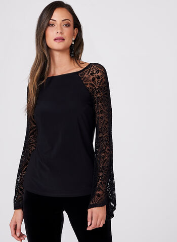 Velvet Mesh Long Sleeve Top, , hi-res