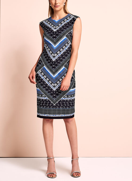 Vince Camuto - Abstract Scuba Dress, Blue, hi-res