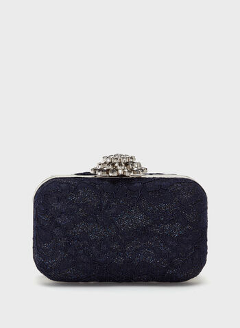 Glitter Lace Box Clutch, , hi-res