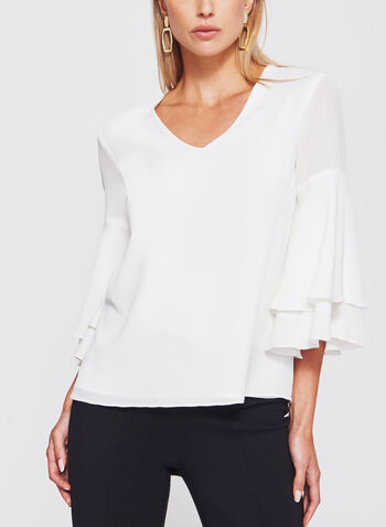 Bell Sleeve Crêpe Double Layer Top, , hi-res