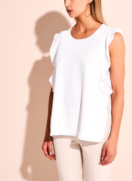 Ruffle Trim Round Neck Blouse, White, hi-res