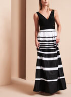 V-Neck Stripe Print Gown, Black, hi-res