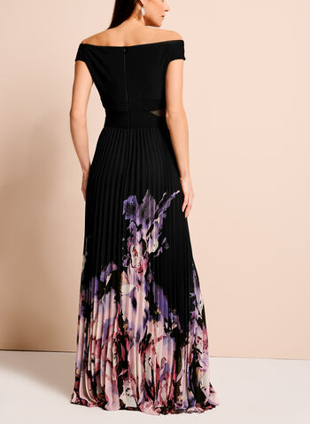 Off The Shoulder Floral Hem Gown, , hi-res