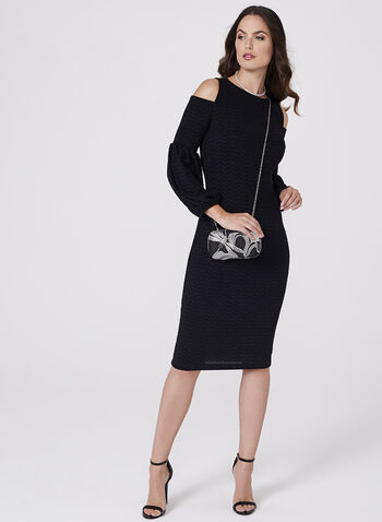 Maggy London - Metallic Cold Shoulder Dress, , hi-res