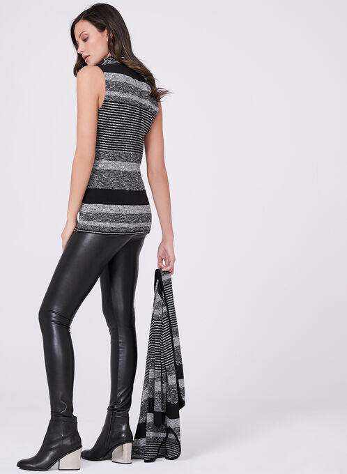 Frank Lyman - Sleeveless Stripe Print Turtleneck Sweater, Black, hi-res