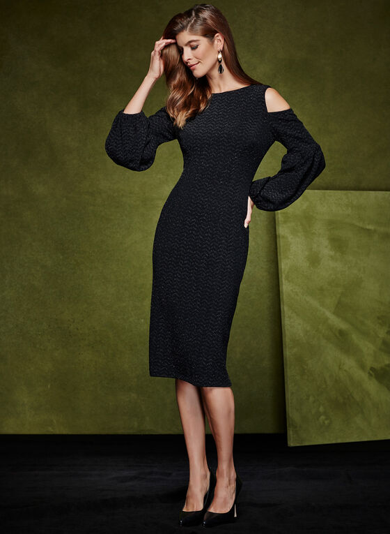 Maggy London - Metallic Cold Shoulder Dress, Black, hi-res