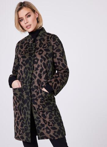Animal Print Wool Blend Coat, , hi-res