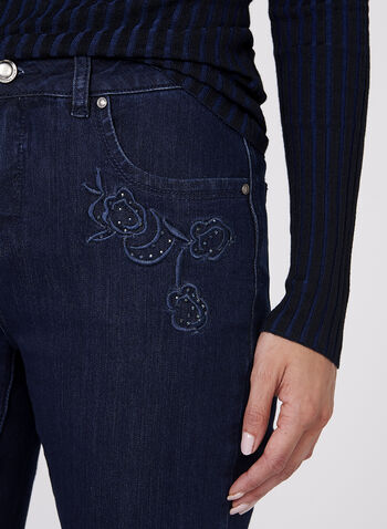 Simon Chang - Floral Embroidered Straight Leg Jeans, , hi-res