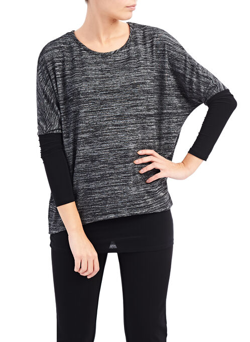 Layered Oversized Top , Black, hi-res