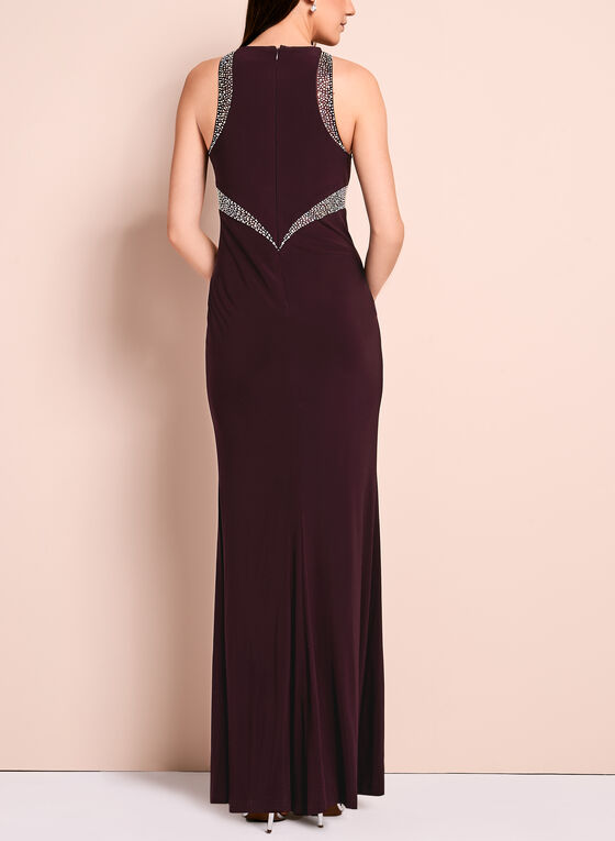 Crystal Embellished Jersey Gown, Red, hi-res