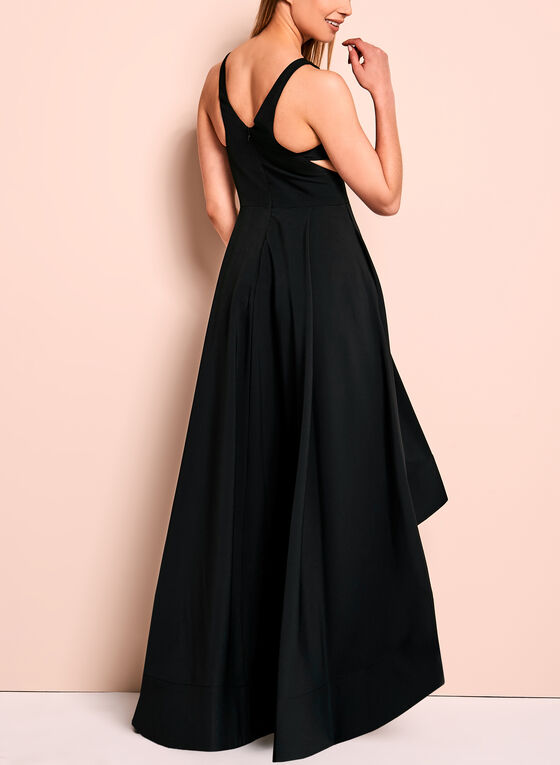 Aidan High Low Side Cutout Gown, Black, hi-res