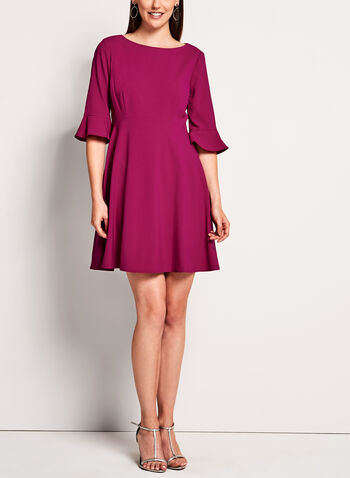 T Tahari - 3/4 Sleeve Fit & Flare Dress, , hi-res