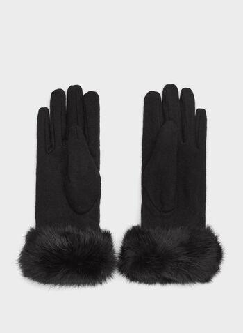 Rabbit Fur Trim Wool Gloves , , hi-res