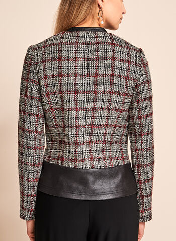 Vex - Bouclé Plaid & Faux Leather Trim Jacket, , hi-res