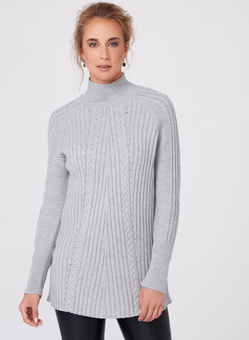 Funnel Neck Knit Sweater, , hi-res