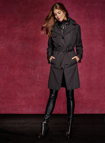 Hooded Trench Coat With Removable Vest, , hi-res