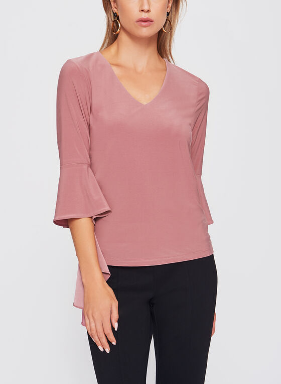 Ruffle Bell Sleeve Knit Top, Pink, hi-res