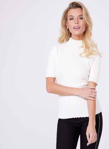 Pearl Mock Neck Knit Sweater, , hi-res