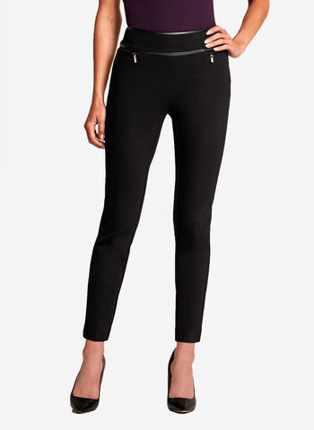 Slim Leg Faux Leather Trim Pants, , hi-res