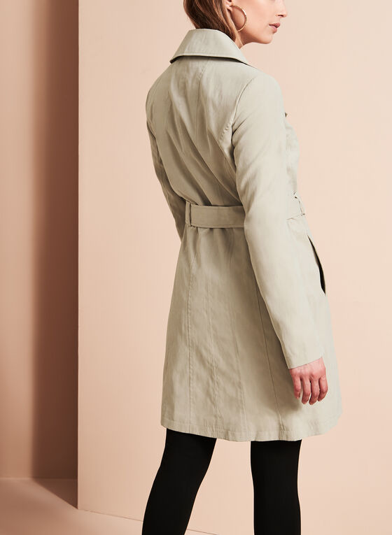 Double Breasted Trench Coat, Off White, hi-res